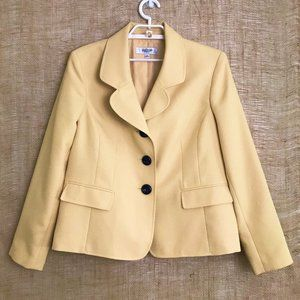 Jones Studio Pale Yellow 3-Button Suit Jacket - 14